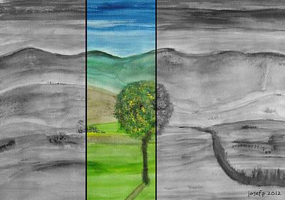 A View From My Terrace Austria 2012 Original by Sir Josef - Social Critic -  Maha Art