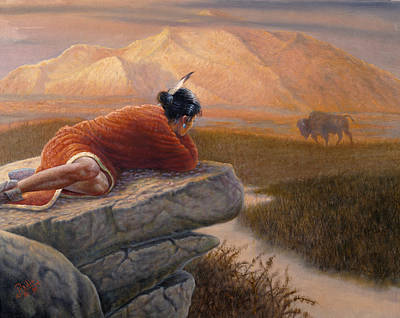Indian Fine Art Painting - A View From The Big Rock by Gregory Perillo