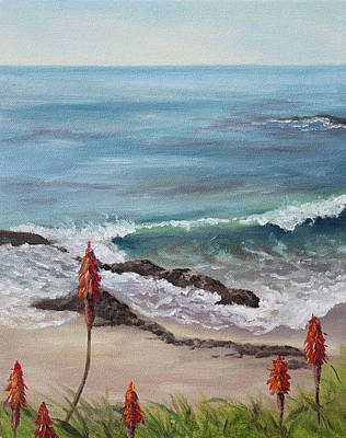 Heisler Park Painting - A View From The Bluffs by Nancy Goldman