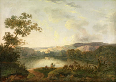 Net Painting - A View Of A Lake With Fishermen, William Groombridge by Litz Collection