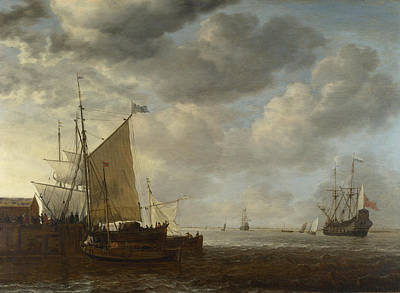 Painting - A View Of An Estuary by Simon de Vlieger