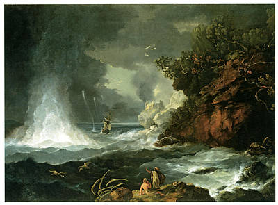 A View Of Cape Stephens In Cook's Straits With Waterspout Print by William Hodges