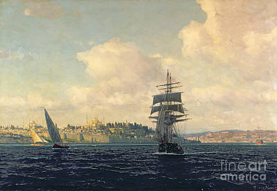 Istanbul Painting - A View Of Constantinople by Michael Zeno Diemer