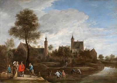 Het Painting - A View Of Het Sterckshof Near Antwerp by David Teniers the Younger