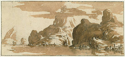 Wash Drawing - A View Of Mountains Across A Lake Jacques Callot by Litz Collection
