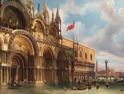 Alta Painting - A View Of Saint Mark's Square With The Acqua Alta by Celestial Images