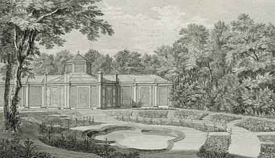 Garden Drawing - A View Of The Aviary And Flower Garden At Kew by Thomas Sandby