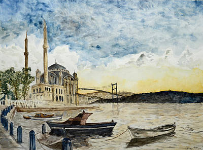A View Of The Bosphorous Bridge From The Docks Of The Ortakoy Mosque Art Print