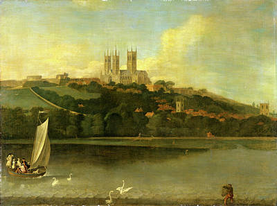 A View Of The Cathedral And City Of Lincoln From The River Art Print by Litz Collection
