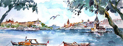 Art Print featuring the painting A View Of The Historical Peninsula From Uskudar - Istanbul by Faruk Koksal