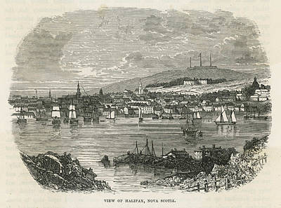 Nova Scotia Drawing - A View Of The Pretty Town And  Harbour by Mary Evans Picture Library