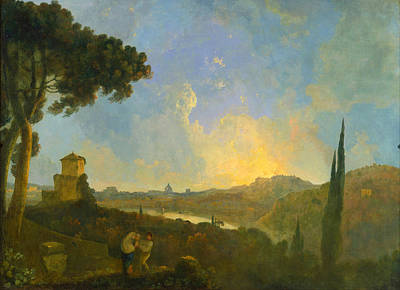 A View Of The Tiber With Rome In The Distance Art Print