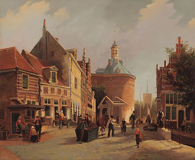 European Street Scene Painting - A View Of The Zuiderspui by Oene Romkes de Jongh