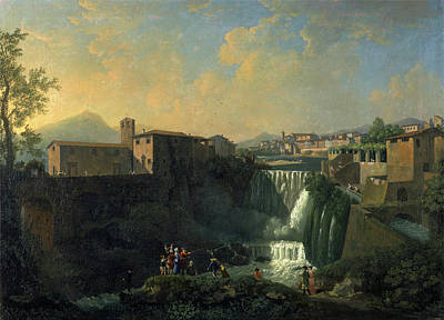 Laundry Painting - A View Of Tivoli Rome Italy Signed In Yellow Paint by Litz Collection