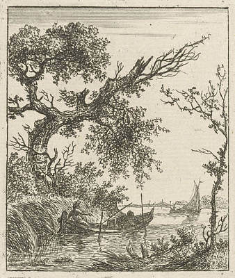 Overhang Drawing - A View On A Large Overhanging Tree And A Rowing Boat Where by Artokoloro