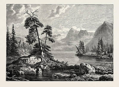 Fjord Drawing - A View On The Hardanger Fjord. Hardangerfjord In The County by Norwegian School