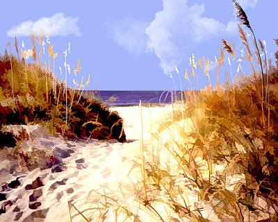Sand Dunes Painting - A View Through The Dunes To The Ocean by Elaine Plesser