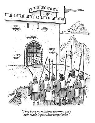 Secretaries Drawing - A Viking Army Stands Before A Castle Gate Where by Tom Cheney