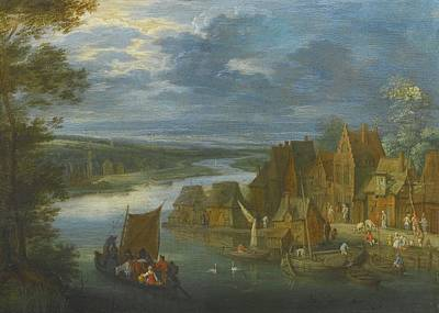 Fisherman Painting - A Village By A River With A Sailing Boat by Celestial Images