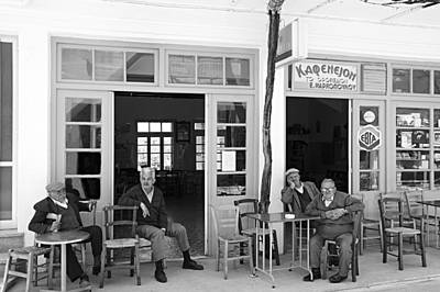 Streetshot Photograph - A Village Cafe In Crete by Laurence Delderfield