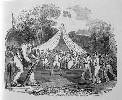Cricket Drawing - A Village Cricket Match          Date by Mary Evans Picture Library