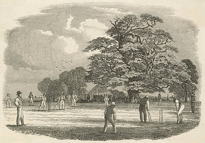 Cricket Drawing - A Village Cricket Match by  Illustrated London News Ltd/Mar