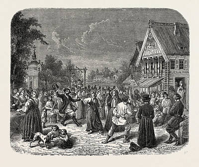 A Village Fete In Russia Art Print by Litz Collection