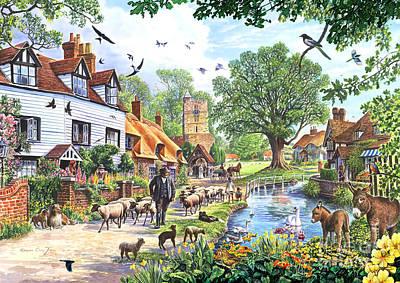 Rural Digital Art - A Village In Spring by Steve Crisp
