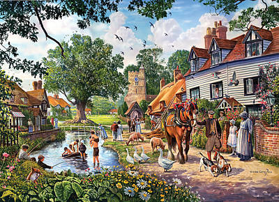 A Village In Summer Art Print by Steve Crisp