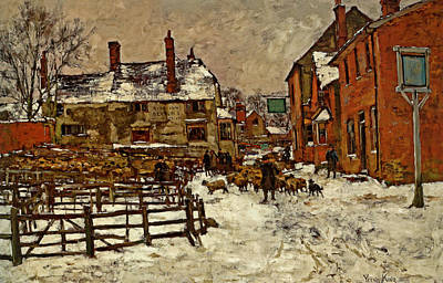 A Village In The Snow Print by Henry King
