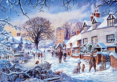 A Village In Winter Art Print by Steve Crisp