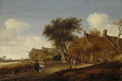 Stagecoach Drawing - A Village Inn With Stagecoach, Salomon Van Ruysdael by Litz Collection