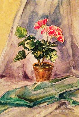 Pink Geraniums Painting - A Vintage Geranium Pot by Irina Sztukowski