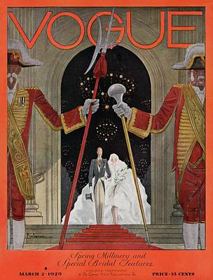 Wedding Dress Photograph - A Vintage Vogue Magazine Cover Of A Father by Georges Lepape