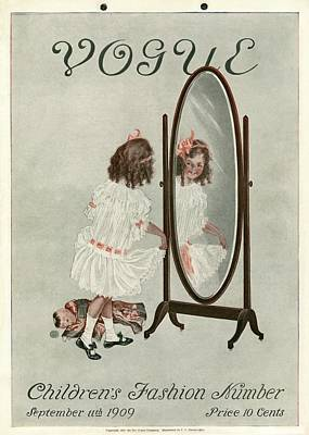 Doll Photograph - A Vintage Vogue Magazine Cover Of A Girl Smiling by Artist Unknown