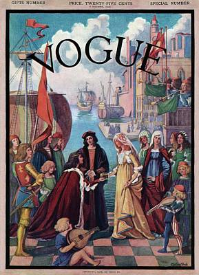 Gift Photograph - A Vintage Vogue Magazine Cover Of A Medieval Man by Esther Peck