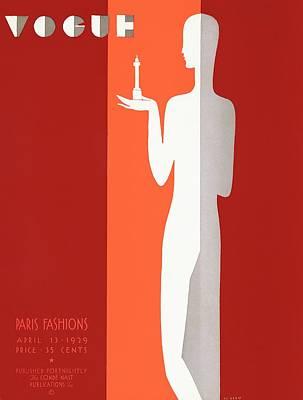 A Vintage Vogue Magazine Cover Of A Person Art Print by Eduardo Garcia Benito