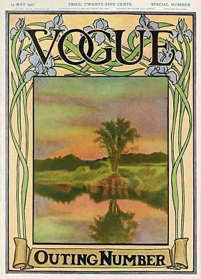 1907 Photograph - A Vintage Vogue Magazine Cover Of A River by Artist Unknown