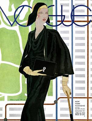 Black Jacket Photograph - A Vintage Vogue Magazine Cover Of A Wealthy Woman by Pierre Mourgue