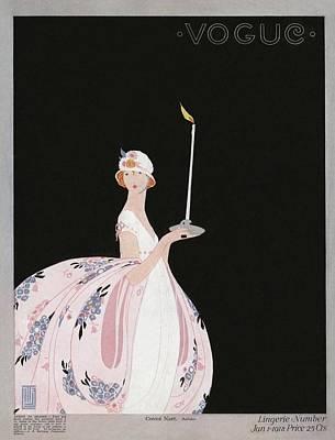 1918 Photograph - A Vintage Vogue Magazine Cover Of A Woman by Alice de Warenne Little