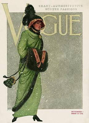 Winter Photograph - A Vintage Vogue Magazine Cover Of A Woman by Artist Unknown