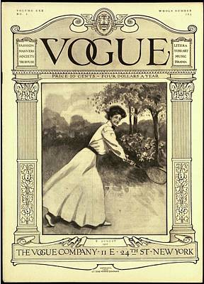 A Vintage Vogue Cover Woman Playing Tennis Art Print