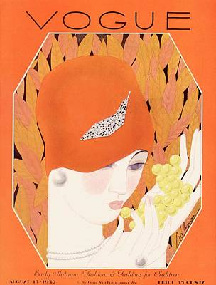 Cloche Photograph - A Vintage Vogue Magazine Cover Of A Woman Eating by Georges Lepape