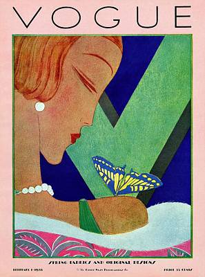 Fashion Illustration Photograph - A Vintage Vogue Magazine Cover Of A Woman by Eduardo Garcia Benito