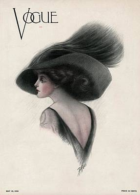 1900s Photograph - A Vintage Vogue Magazine Cover Of A Woman by F Rose