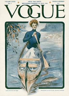 Oars Photograph - A Vintage Vogue Magazine Cover Of A Woman by G. Howard Hilder