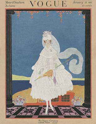 1916 Photograph - A Vintage Vogue Magazine Cover Of A Woman by Helen Dryden