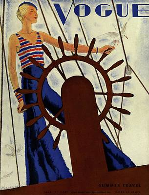Sailboat Photograph - A Vintage Vogue Magazine Cover Of A Woman by Jean Pages
