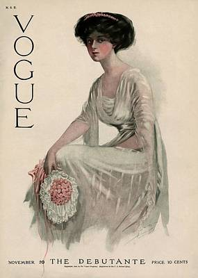 Crouched Photograph - A Vintage Vogue Magazine Cover Of A Woman by Jean Parke