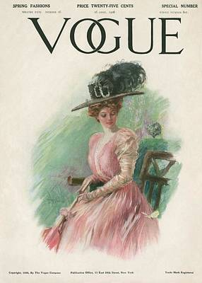 A Vintage Vogue Magazine Cover Of A Woman Art Print by Stuart Travis